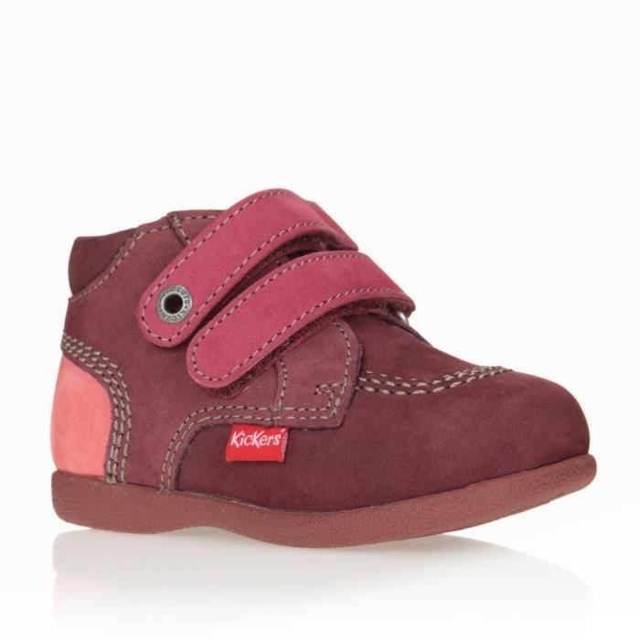 kickers bottillons babyscratch cuir chaussures b b fille rose et marine achat vente. Black Bedroom Furniture Sets. Home Design Ideas