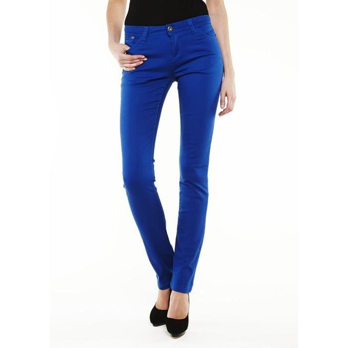 Les essentiels jean slim femme bleu roi achat vente jeans les essentiels jean slim femme - Jean bleu troue femme ...