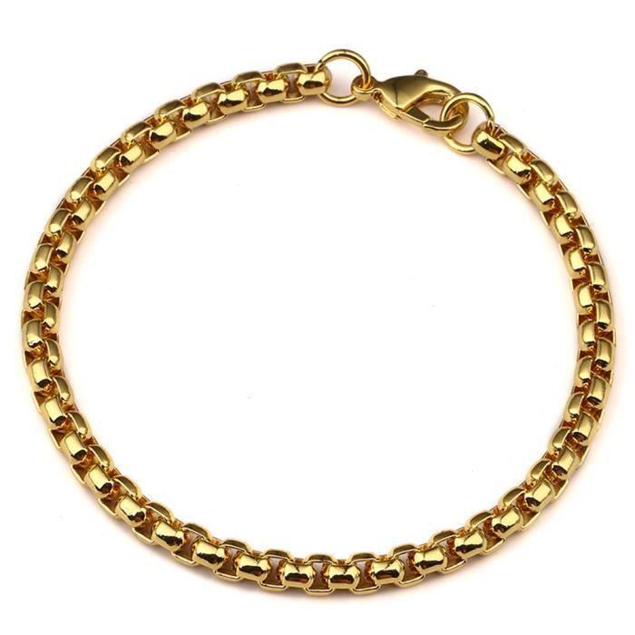 Maillon de la cha ne du poignet or jaune 18 carats plaqu femmes hommes bracelet accessoires - Maillon de chaine ...