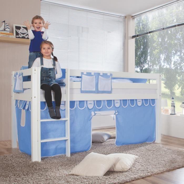 Lit mezzanine pour enfant coloris bleu clair achat vente lit mezzanine cdiscount - Mezzanine pour enfant ...