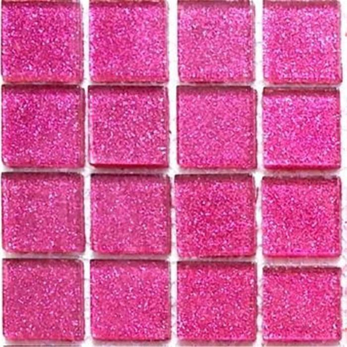 Carrelage mosa que en verre rose avec des paillettes for Achat carrelage mosaique