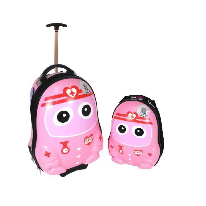 ensemble valise roulette et sac dos infirmi re pour enfant achat vente set de valises. Black Bedroom Furniture Sets. Home Design Ideas