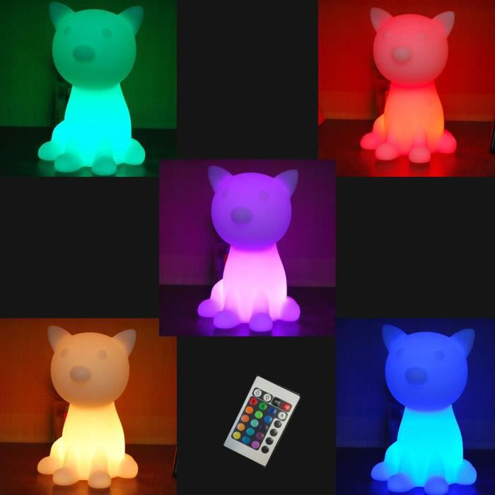 lampe led de table 26cm forme chat telecommande 16 couleurs achat vente lampe led de table. Black Bedroom Furniture Sets. Home Design Ideas
