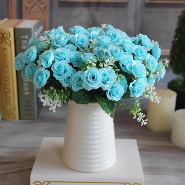 Lot de 15 fleurs artificielles coloris bleu achat for Soldes fleurs artificielles
