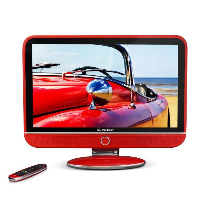 schneider feeling 39 s led32red eled tv full hd 82cm 32 style vintage coloris rouge 3. Black Bedroom Furniture Sets. Home Design Ideas