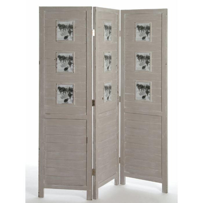 paravent 3 ventaux en bois gris pele mele achat vente paravent cdiscount. Black Bedroom Furniture Sets. Home Design Ideas