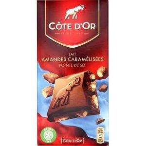 CHOCOLAT NOIR Côte d'or tablette chocolat noir amandes caramélis