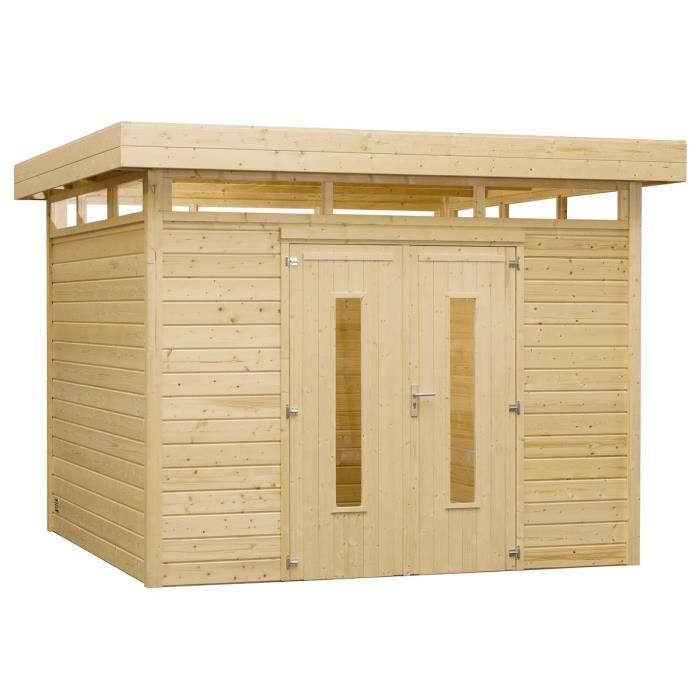 Abri de jardin bois toit plat m 305 x achat vente abri jardin chalet abri de for Abri de jardin en bois toit plat