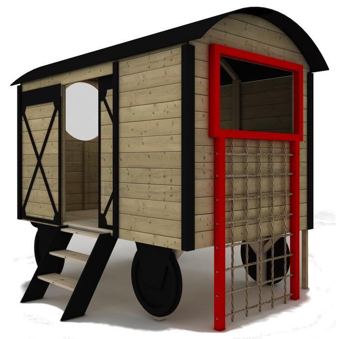 Maisonette enfant en bois sur roues mod le western cabane for Maisonnette smoby occasion