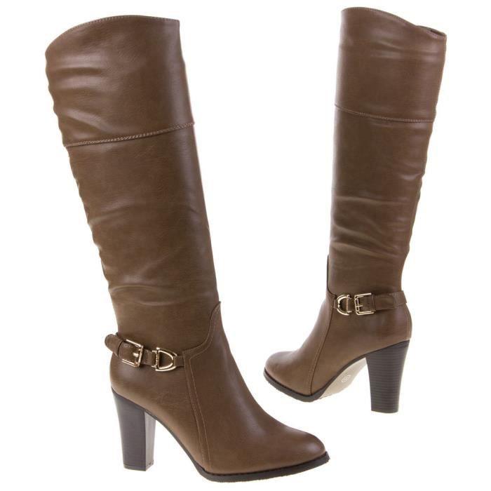 bottes marron cavali re boucle zip femme achat vente. Black Bedroom Furniture Sets. Home Design Ideas