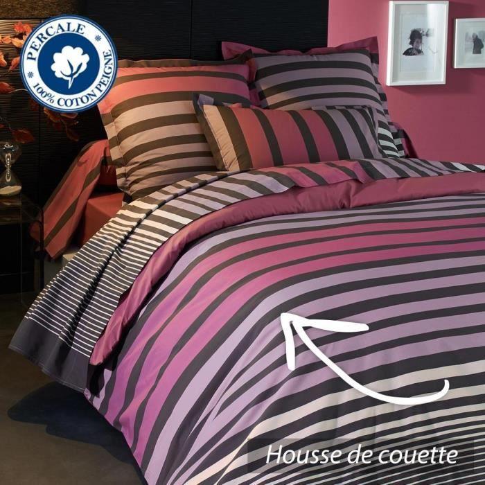 parure de lit 200x200 cm percale pur coton stri achat. Black Bedroom Furniture Sets. Home Design Ideas