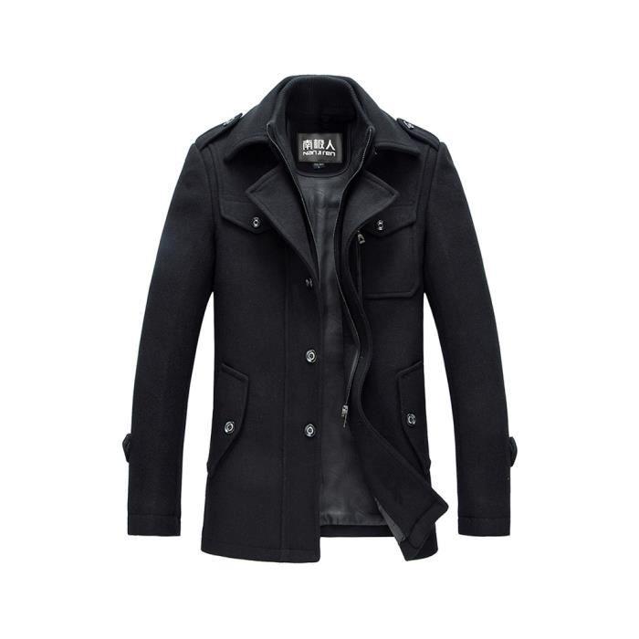 caban homme automne casual fashion noir noir achat vente manteau caban cdiscount. Black Bedroom Furniture Sets. Home Design Ideas
