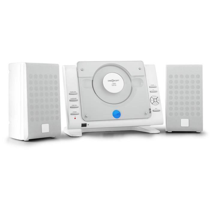 oneconcept vertical 70 chaine st r o avec lecteur cd port usb mp3 et entr e aux blanc. Black Bedroom Furniture Sets. Home Design Ideas
