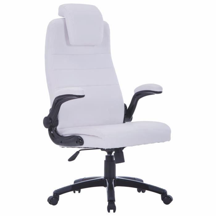 chaise pivotante r glable avec accoudoir en cuir artificiel blanc achat v. Black Bedroom Furniture Sets. Home Design Ideas