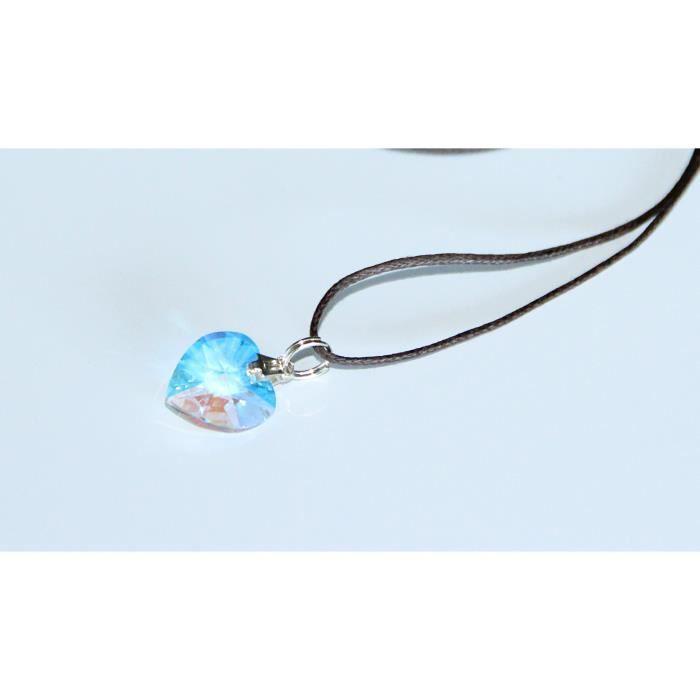 sautoir et collier swarovski pendentif coeur reflet bleu. Black Bedroom Furniture Sets. Home Design Ideas