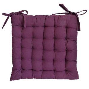 COUSSIN DE CHAISE  Galette de chaise 40x40x4 cm Aubergine