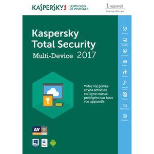 ANTIVIRUS Kaspersky Total Security 2017 1 Poste / 1 An / Ver