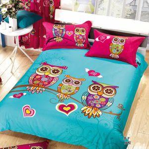 parure de lit hibou achat vente parure de lit hibou pas cher cdiscount. Black Bedroom Furniture Sets. Home Design Ideas