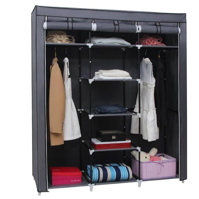 meuble penderie garde robe etagere pour chaussures vetements 175 x 150 x 45cm gris achat