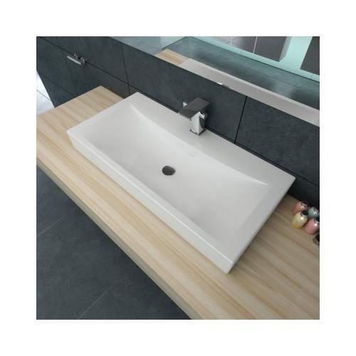 Vasque poser en c ramique rectangulaire blanche 60 x 32 cm achat vente lavabo vasque - Vasque a poser occasion ...