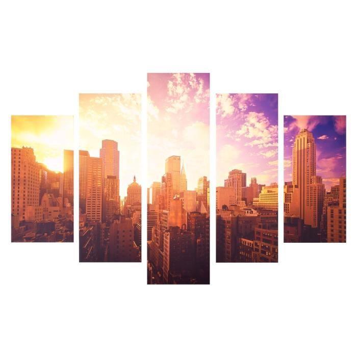Tableau multi panneaux good morning xxl 150x100 cm dor et for Miroir new york conforama