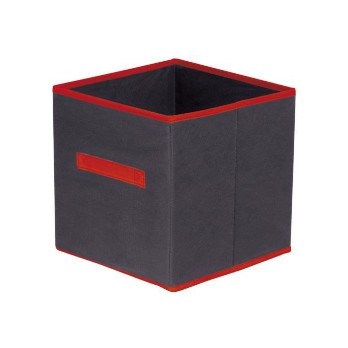 Boite de rangement en tissu 31 x 31 x 31 cm couleur for Maison rouge boite de nuit