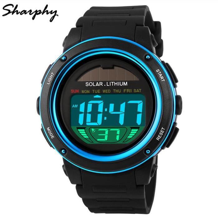 sharphy solaire montre homme de marque affichage num rique led watch tanche sport horloge. Black Bedroom Furniture Sets. Home Design Ideas