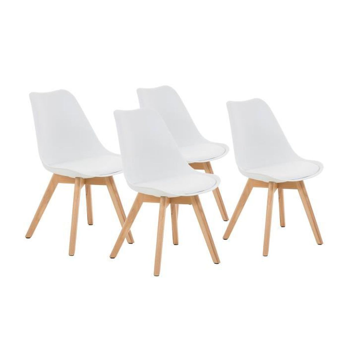 malm lot de 4 chaises design scandinave blanc pu. Black Bedroom Furniture Sets. Home Design Ideas