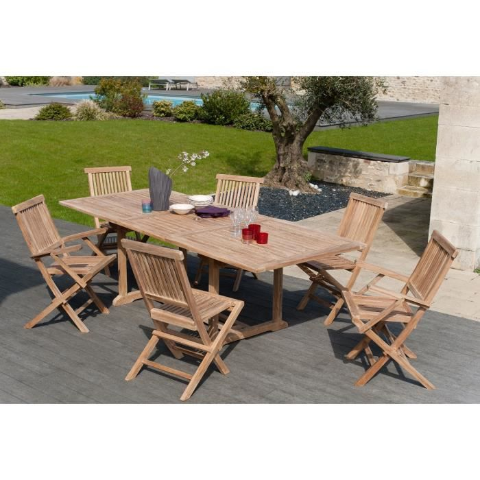 Artigues ensemble de jardin en bois teck massif 6 places table extensible marron achat Salon de jardin bois cdiscount