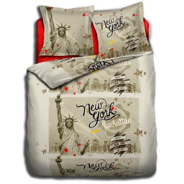 housse de couette 240x260 cm 2 to 63x63 cm new york. Black Bedroom Furniture Sets. Home Design Ideas