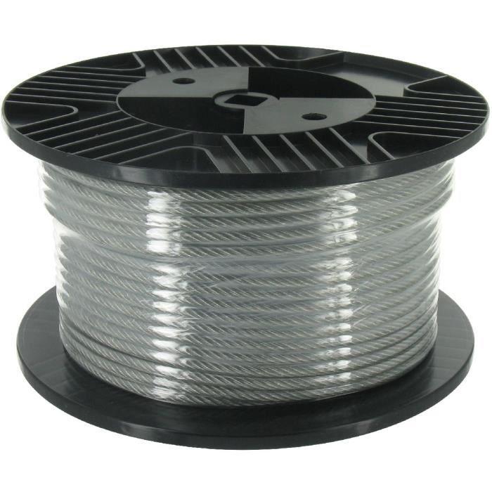 Cable acier gain pvc bobine de 40m diam tre c ble achat - Cable electrique enterre sans gaine ...
