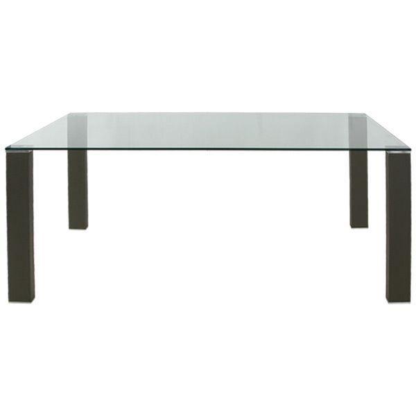 Table de s jour en verre pieds cuir gris achat vente - Table sejour verre ...