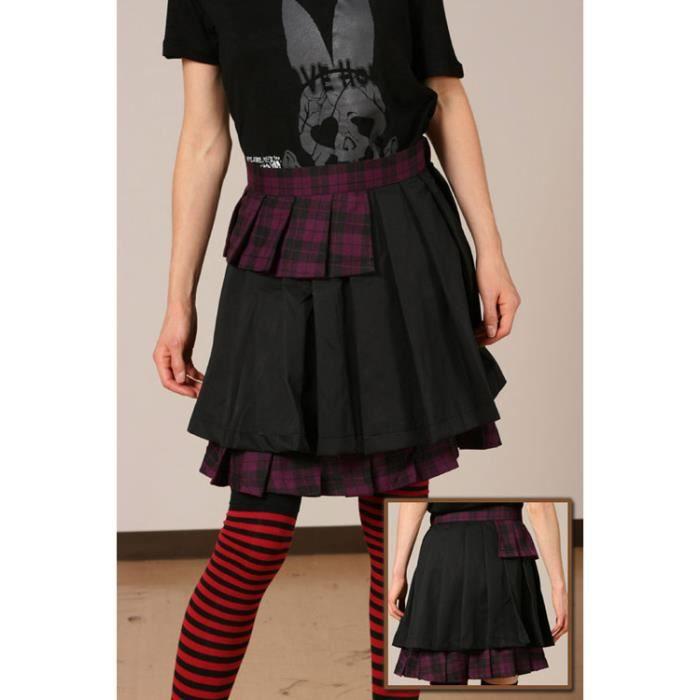 jupe noir et violet ecossais gothique punk g901 noir achat vente jupe 3700923504186 cdiscount. Black Bedroom Furniture Sets. Home Design Ideas