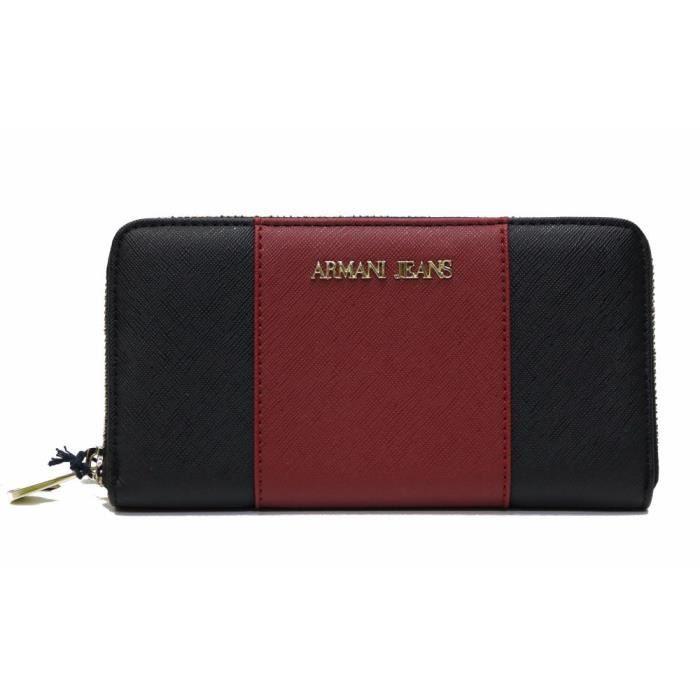 Porte monnaie long armani jeans noir bordeaux achat vente porte monnaie 8052390279186 for Achat porte interieur bordeaux