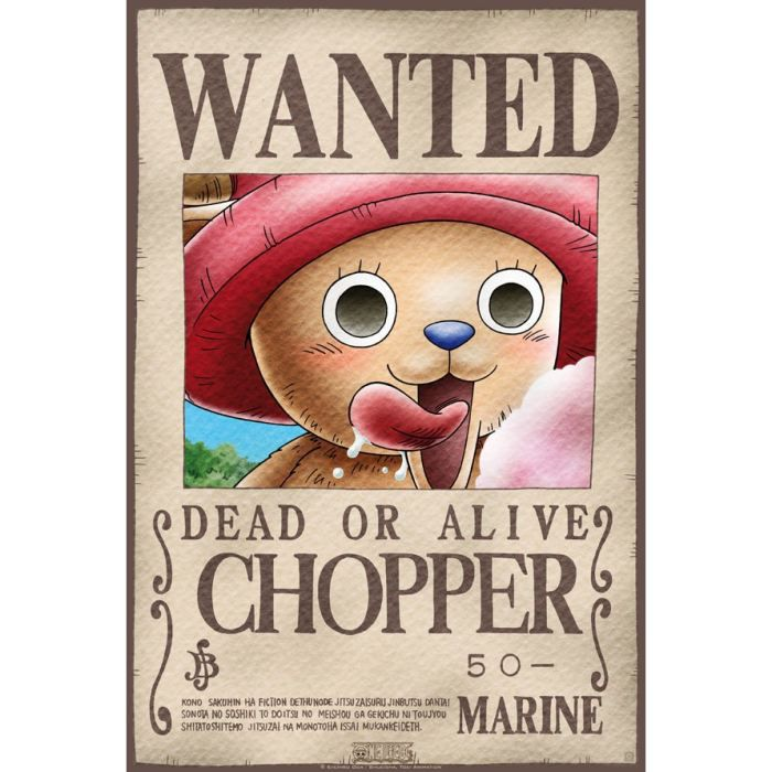 poster one piece 39 wanted chopper 39 52x38cm achat vente affiche cdiscount. Black Bedroom Furniture Sets. Home Design Ideas