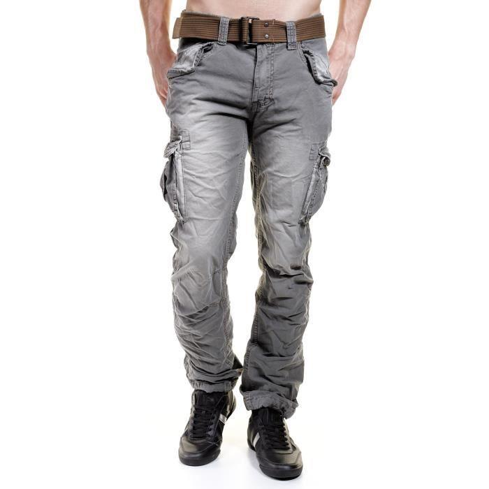Jeans schott treillis militaire gris achat vente - Treillis militaire occasion ...