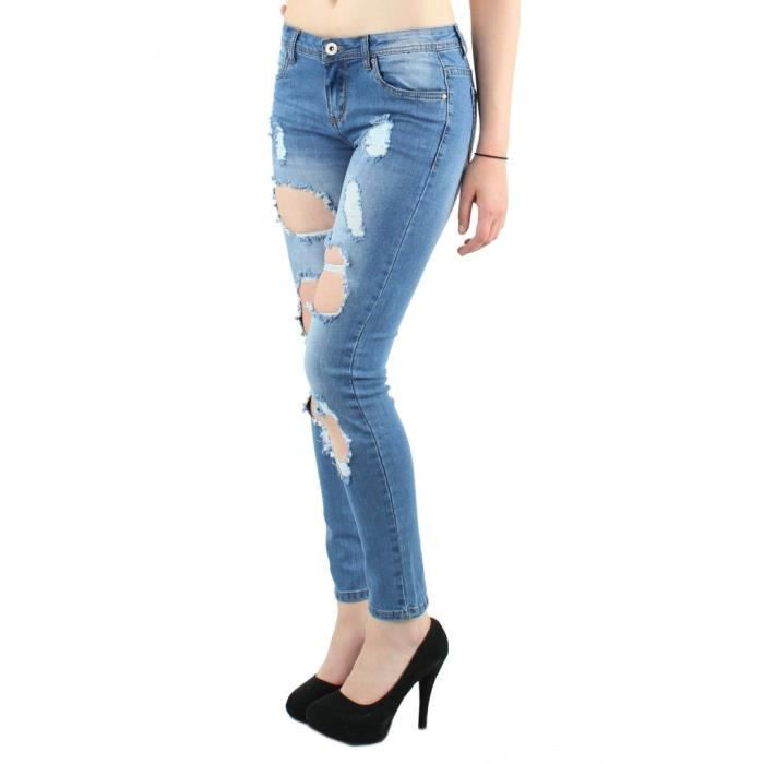 Jean blanc trou et d chir passant de ceinture fermeture zip et bouton deux poches lat rales - Jean blanc troue ...