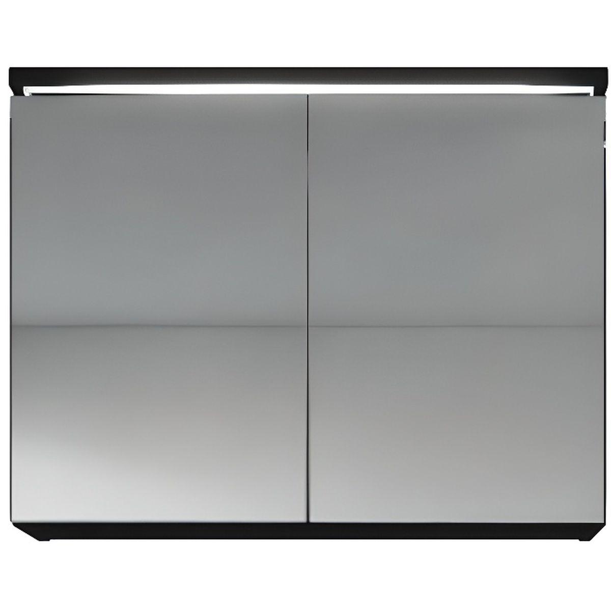 Meuble miroir 80x50 cm noir brillance miroir armoire for Mirroir salle de bain