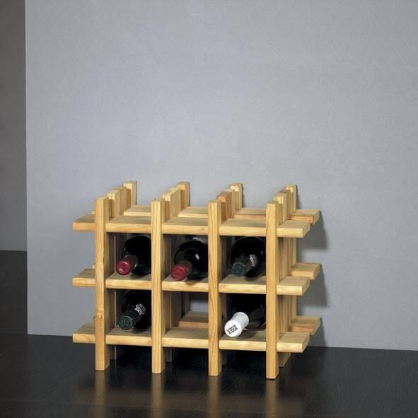Porte bouteilles bois 9 bouteilles achat vente petit for Petit meuble avec porte