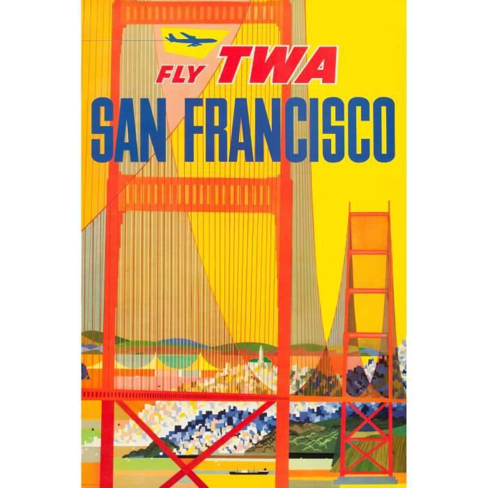 SAN FRANCISCO FLY TWA repro poster pub 60x90 - Achat / Vente affiche - Cdiscount