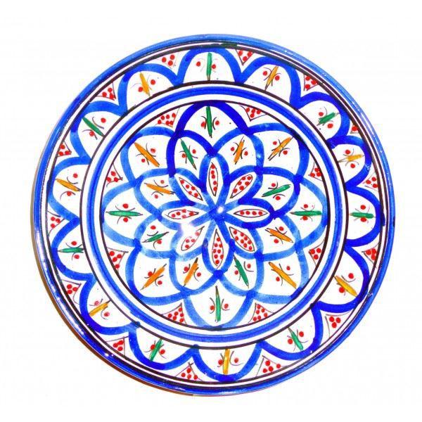 assiette marocaine d corative en poterie peinte achat vente assiette jetable cdiscount. Black Bedroom Furniture Sets. Home Design Ideas