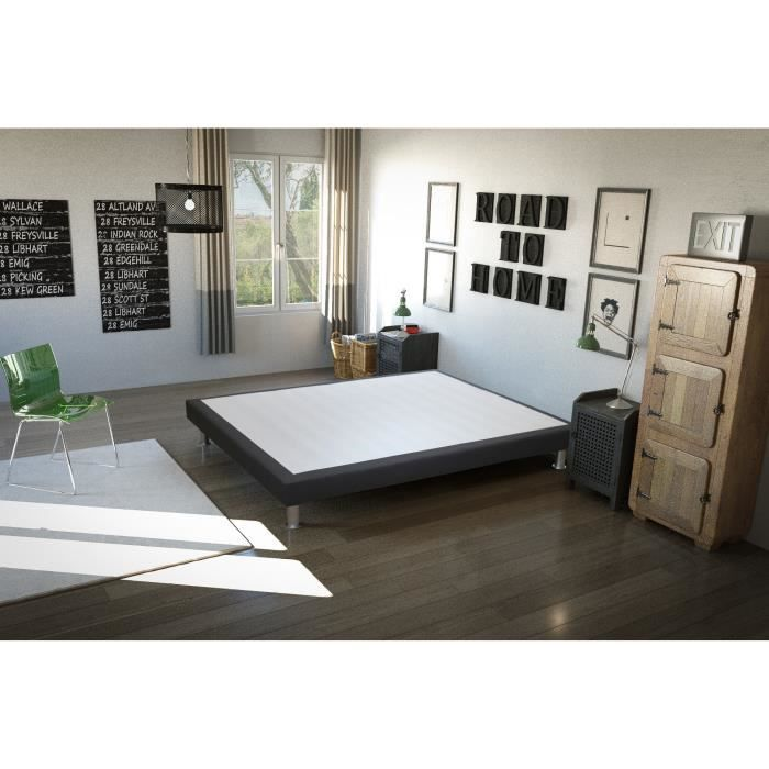 sommier baobab 160x200 cm gris anthracite achat vente sommier cdiscount. Black Bedroom Furniture Sets. Home Design Ideas