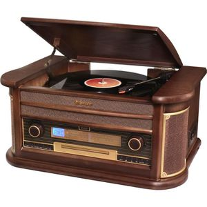 ROADSTAR HIF-1896TUMPK Chaine HiFi Vintage avec Platine Disque, Lecteur CD/MP3/Cassette et USB - Encodage - Finition Bois