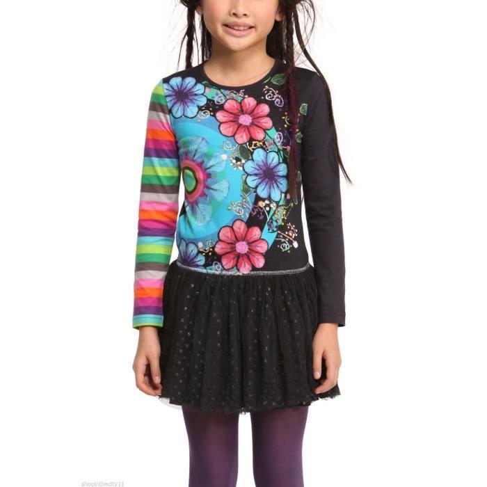 robe enfant fille desigual modele vara gris achat vente robe cdiscount. Black Bedroom Furniture Sets. Home Design Ideas