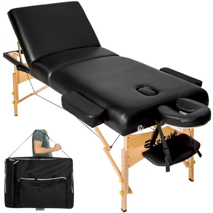 table de massage pliante 3 zones noir 13 cm d 39 paisseur. Black Bedroom Furniture Sets. Home Design Ideas