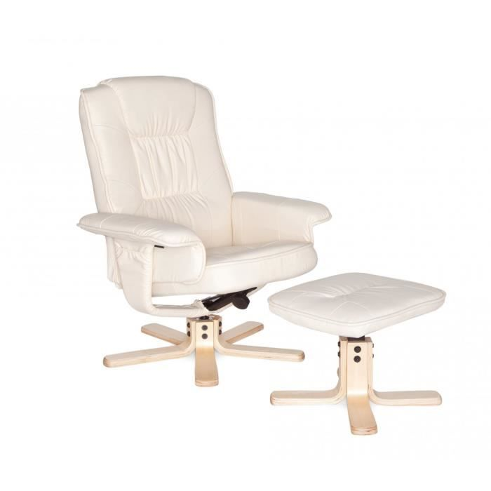 Chaise Relaxation Repose Pieds Sam Beige Achat Vente Fauteuil Cdiscount