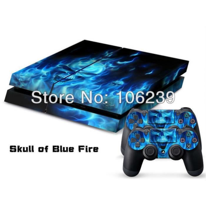 jeux pc video console accessoires  set lote skuss de peau autocollant blue fire c f auc