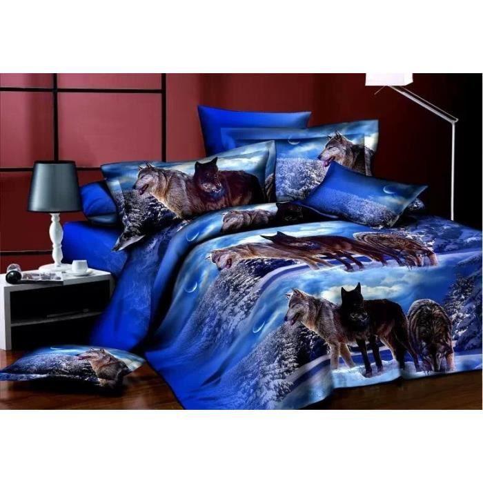 parure de lit 3d 2 pers polyester loups achat vente parure de drap cdiscount. Black Bedroom Furniture Sets. Home Design Ideas