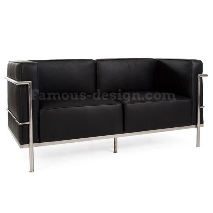 lc2 le corbusier 2 places large noir achat vente canap sofa divan cdiscount. Black Bedroom Furniture Sets. Home Design Ideas