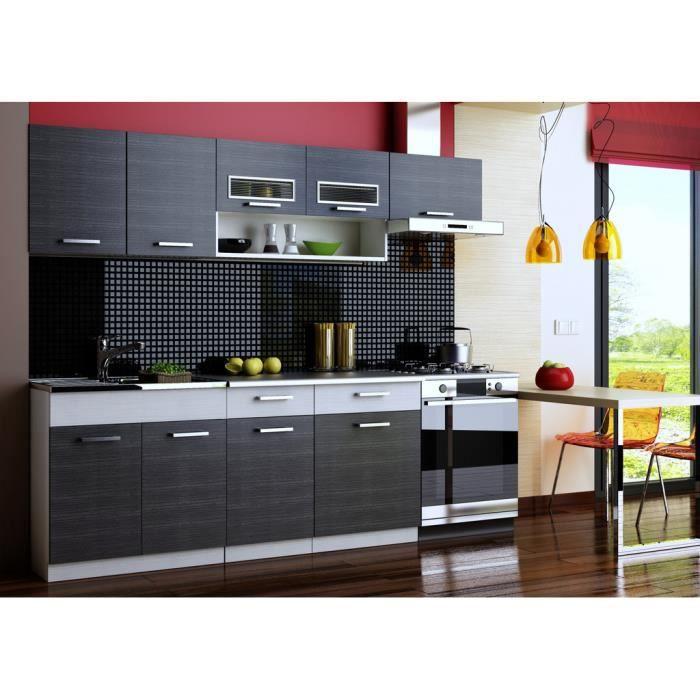 Topaze noir cuisine compl te mont e 2m40 6 meubles achat Achat meuble cuisine montee